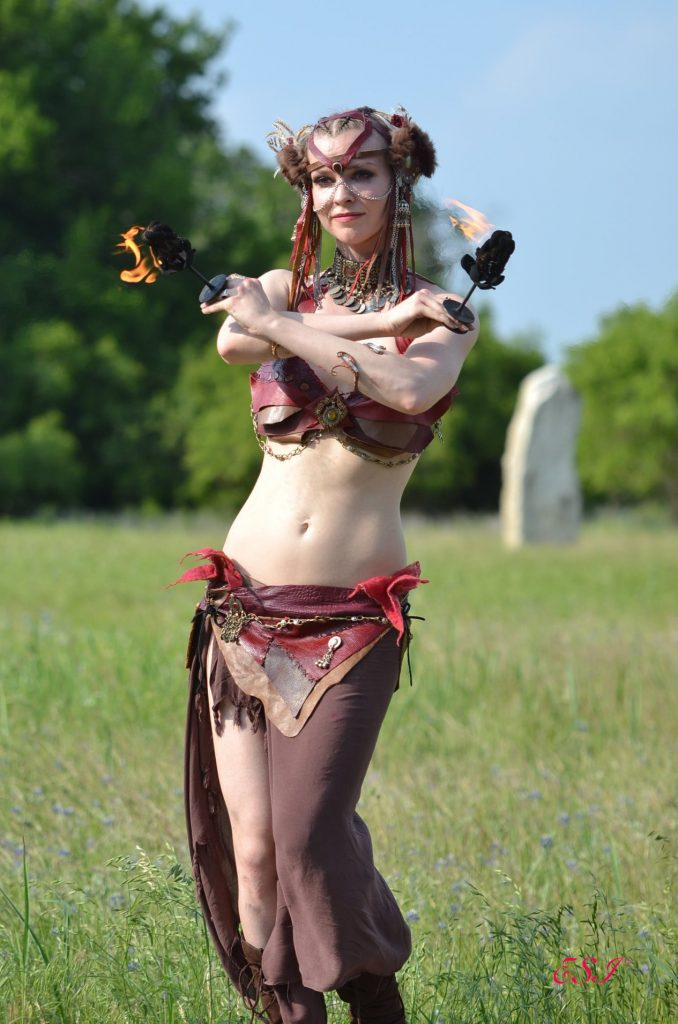 Belly Dance Palm Torches Leather costume